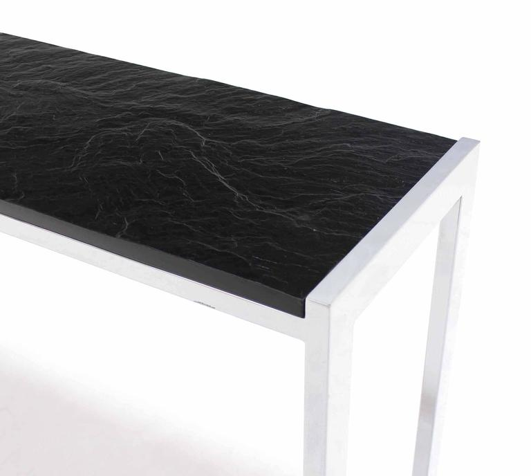 Slate Coffee Table Canada: Midcentury Chrome Console Table Slate Top At 1stdibs