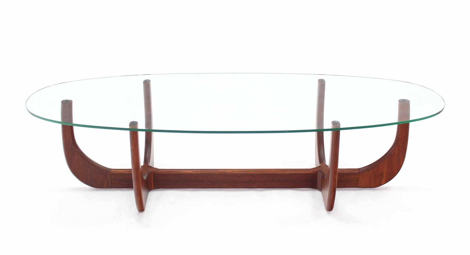Midcentury Oval Glass Top Walnut Base Coffee Table For Sale At 1stdibs