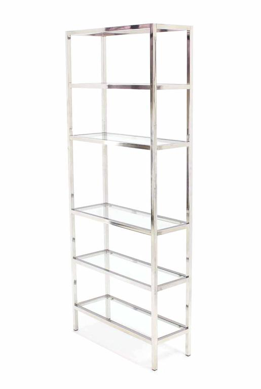 Pair of Tall Glass 6 Tier Shelves Chrome Etageres For Sale at 1stdibs