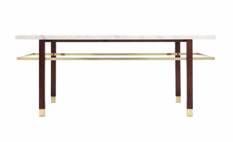 Welded Harvey Probber Marble Top Rectangular Coffee Table w/ Brass Rectangular stretche For Sale