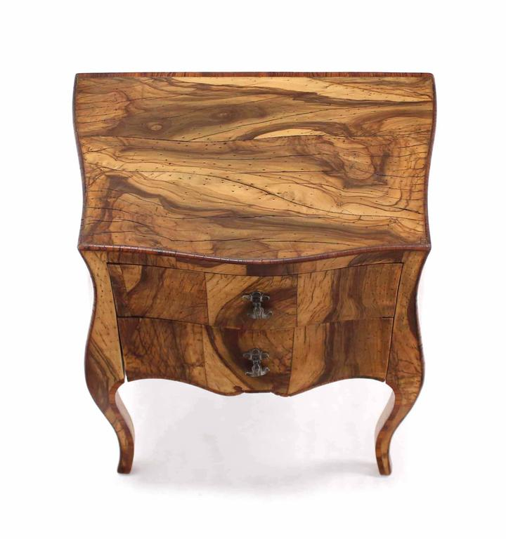 Patched Burl Wood Italian Bombay Side Table Nightstand 3
