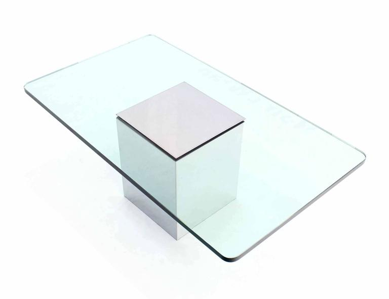 Polished steel cube shape base rectangle glass top coffee - Cube table basse ...