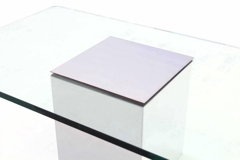 Polished Steel Cube Shape Base Rectangle Glass Top Coffee Table For Sale At 1stdibs