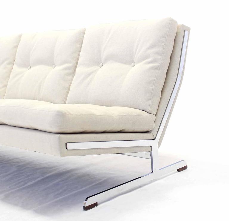 Mid Century Modern Chrome Frame Sofa New Upholstery For