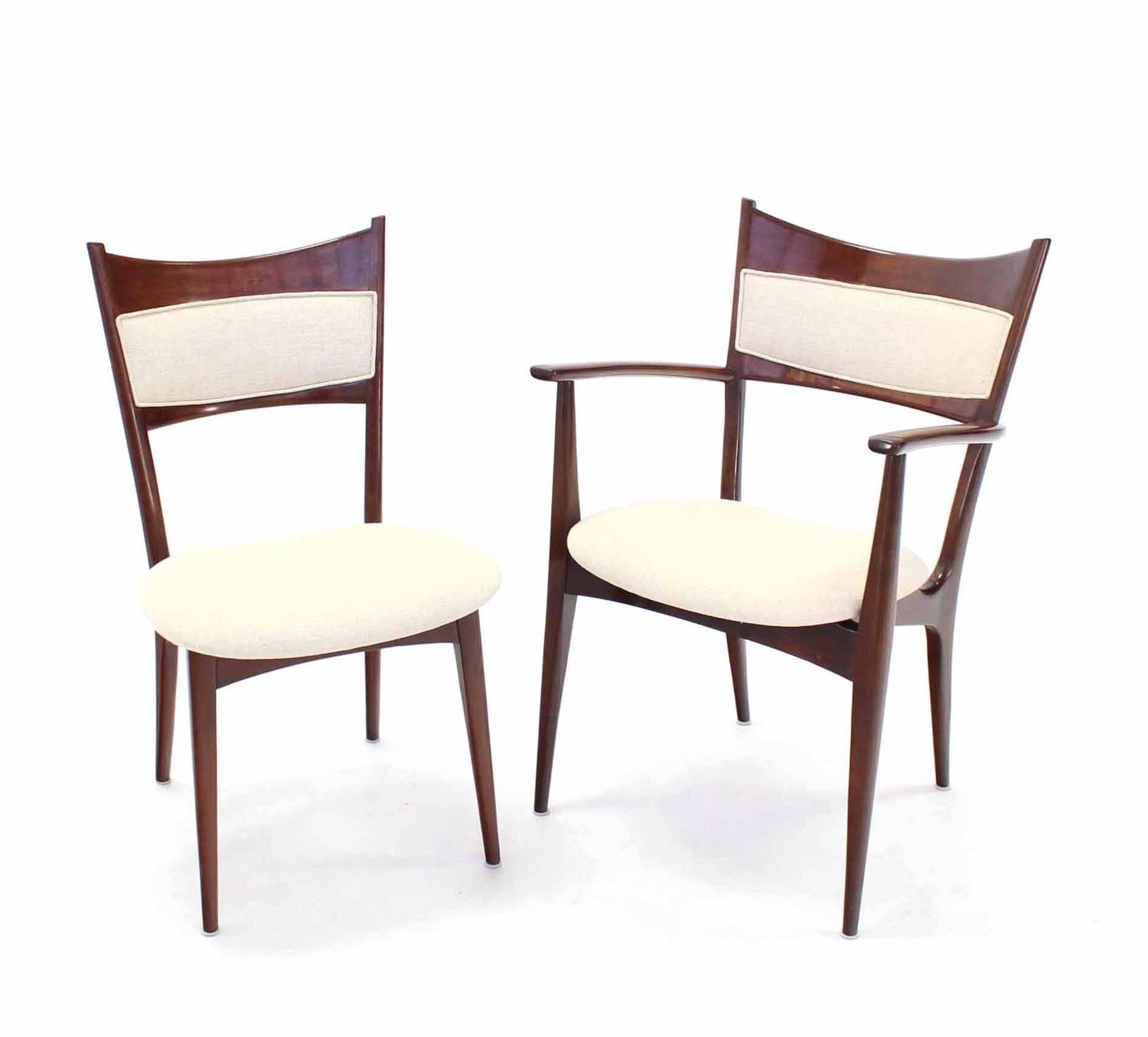 Set of six italian modern dining chairs with new for Singer dining room set