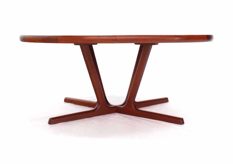 Sculptural Solid Teak Base Danish Modern Oval Dining Table At 1stdibs