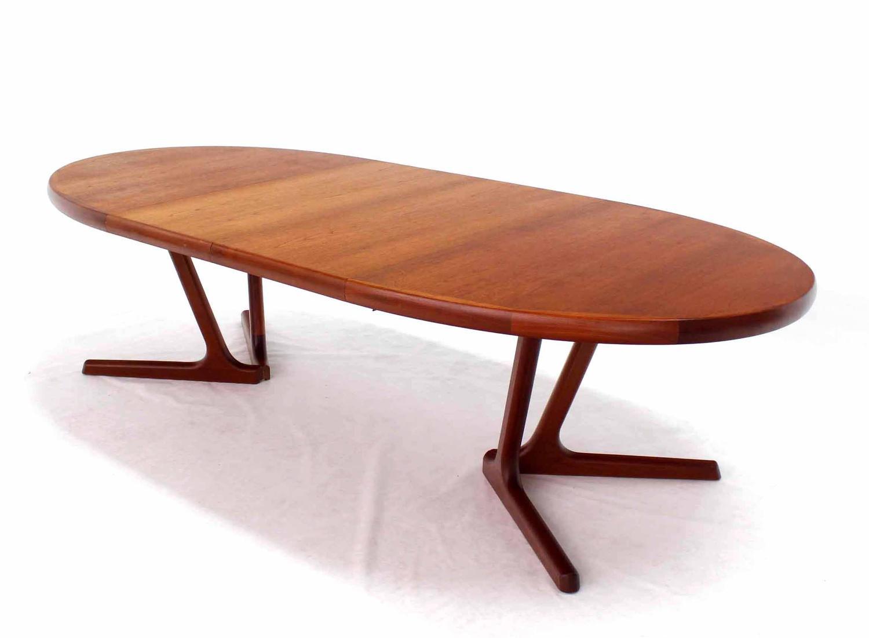 sculptural solid teak base danish modern oval dining table at 1stdibs. Black Bedroom Furniture Sets. Home Design Ideas