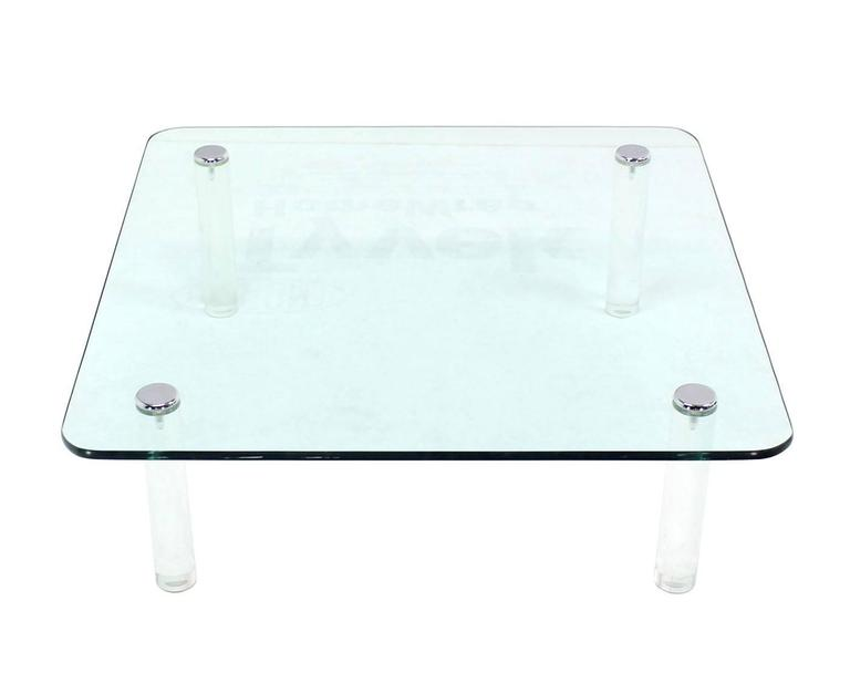 Nice 48u0026quot; Square Thick Glass Top Coffee Table On Lucite Legs. Measures:  Large