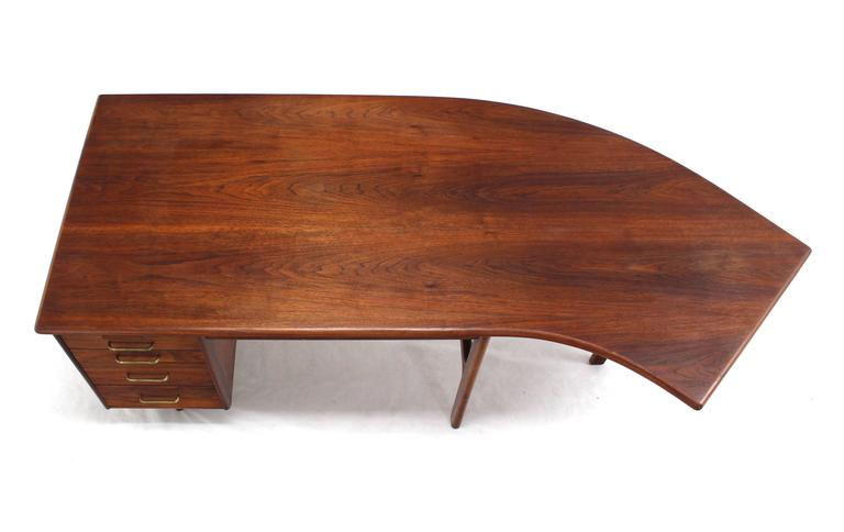 Oiled walnut  Mid-Century Modern curved boomerang shape desk.