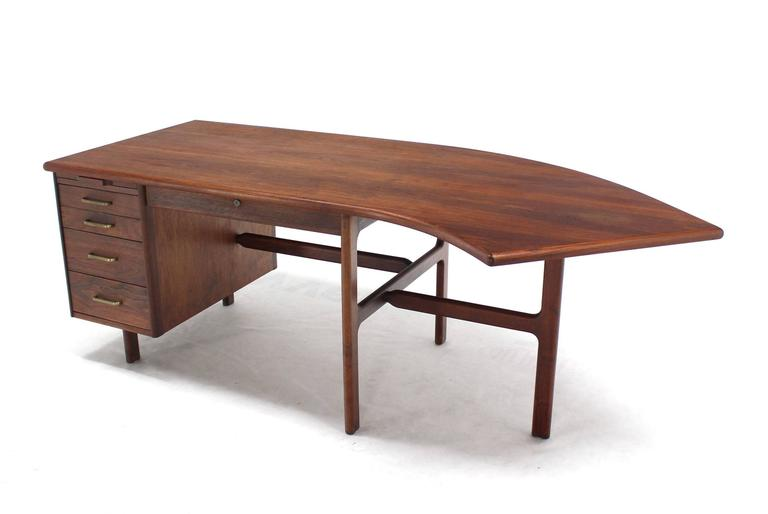American Danish Mid Century Modern Boomerang Shape Desk For Sale