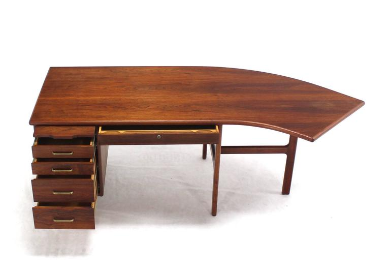 Oiled Danish Mid Century Modern Boomerang Shape Desk For Sale