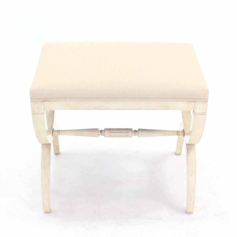 X Base Neoclassical White Wash Vanity Bench At 1stdibs