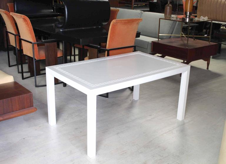 White Lacquer Raised Greek Key Ornament Top Coffee Table For Sale At 1stdibs