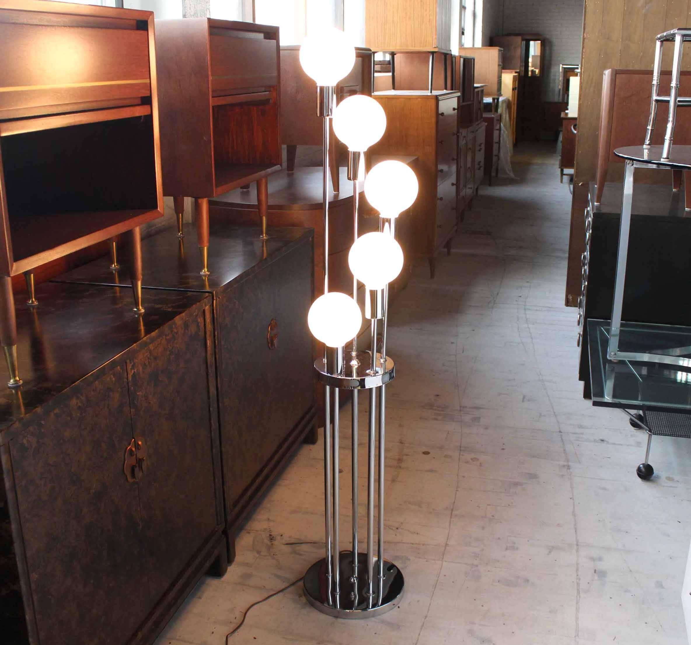 Chrome Base Spiral White Globe Shades Floor Lamp At 1stdibs