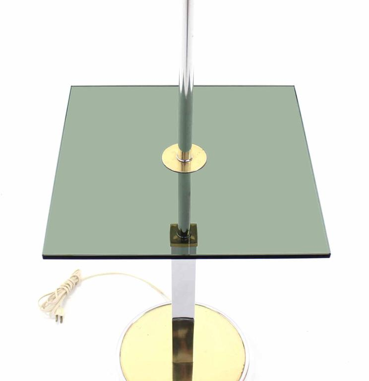 century modern smoked glass side table floor lamp for sale at 1stdibs. Black Bedroom Furniture Sets. Home Design Ideas