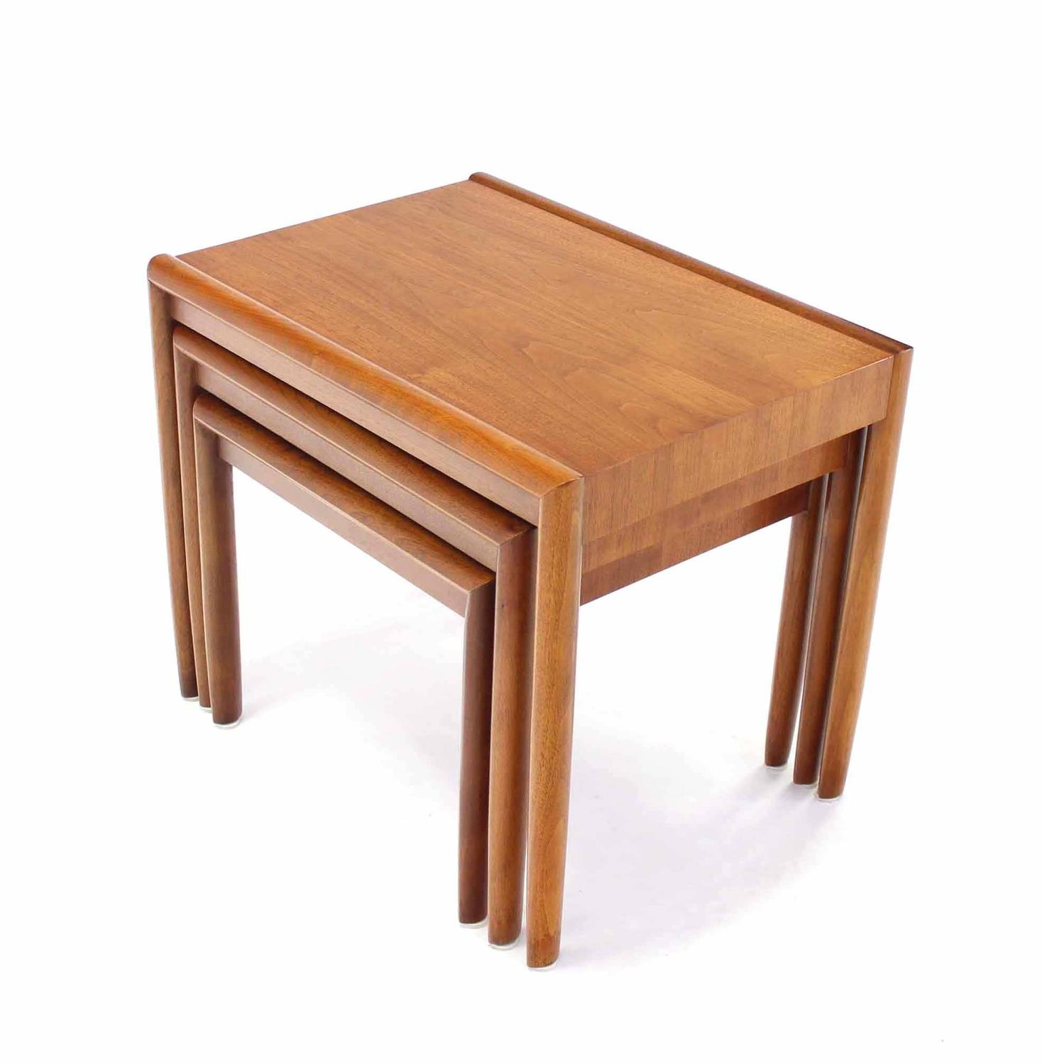 Set of three walnut nesting tables for sale at stdibs