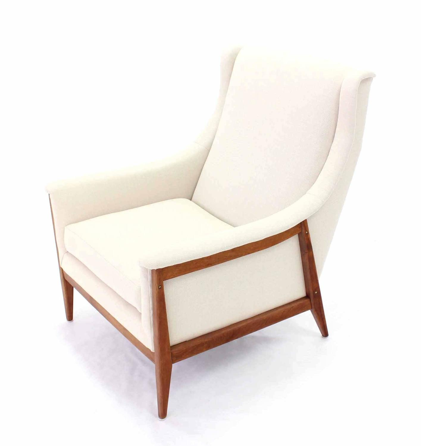 New Upholstery Danish Modern Lounge Chair and Ottoman at 1stdibs