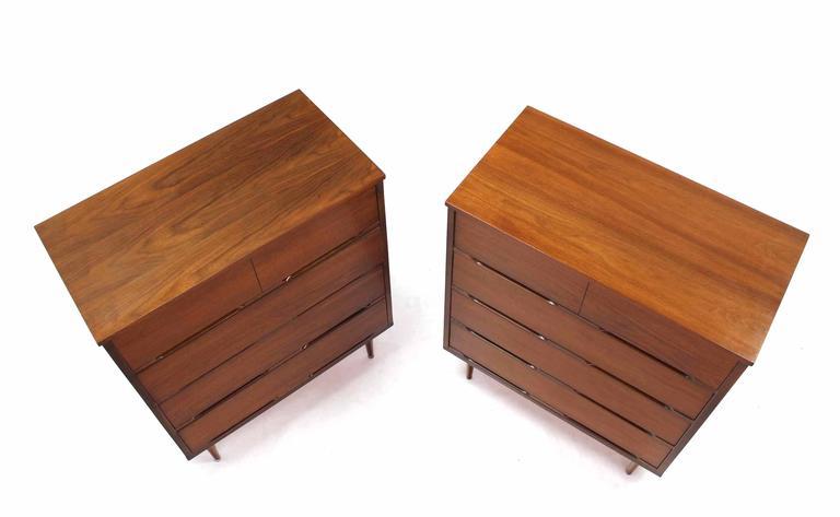 Pair of nice Mid Century Modern walnut drawer high chest.