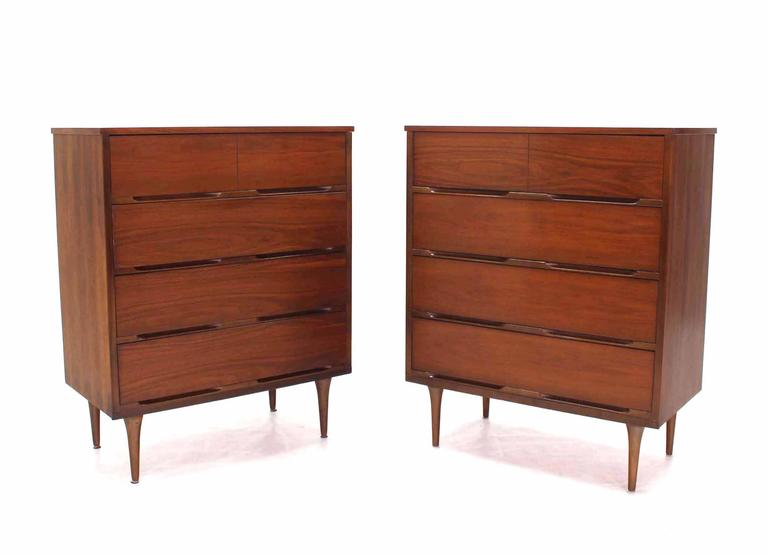 Mid-Century Modern Pair of Danish Modern Walnut High Chests For Sale