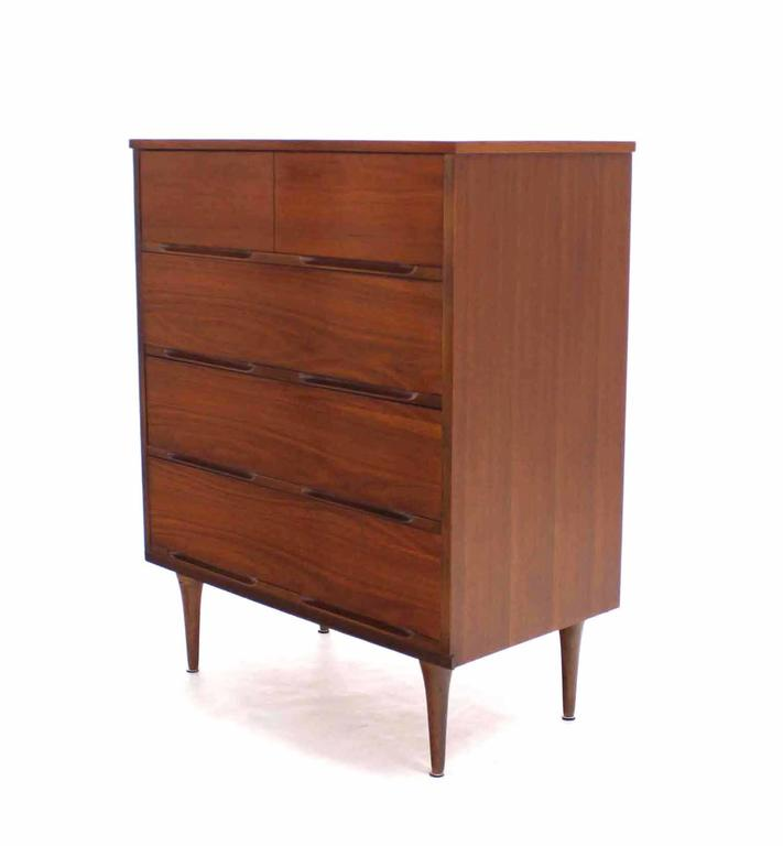 Lacquered Pair of Danish Modern Walnut High Chests For Sale