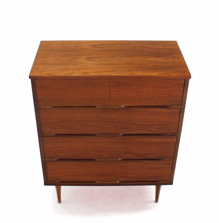20th Century Pair of Danish Modern Walnut High Chests For Sale