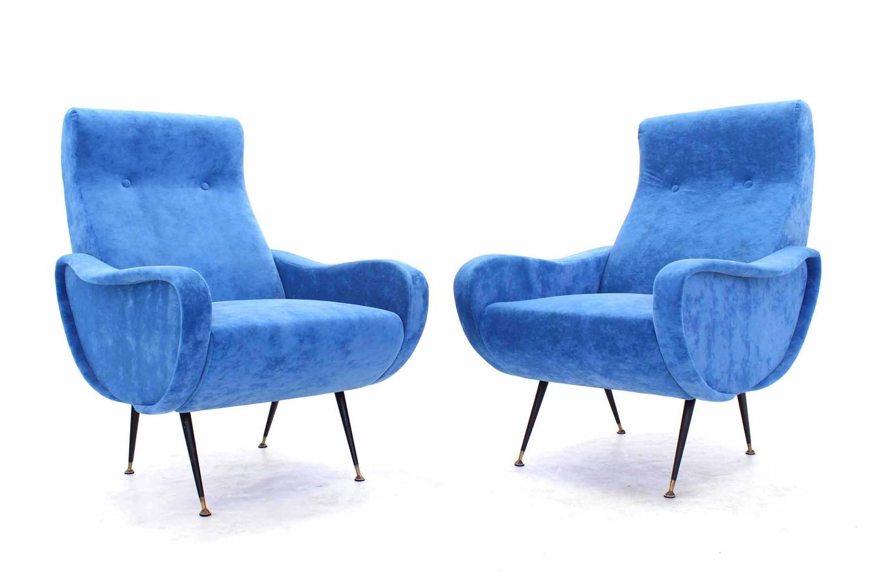 Pair Of Mid Century Italian Modern Blue Upholstery Lounge