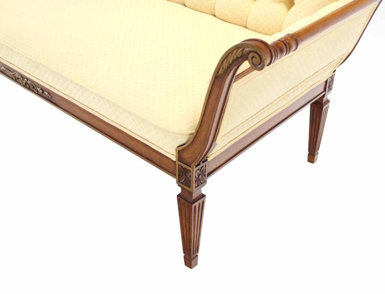 Pair of Regency Style Sofas or Loveseats Gold Upholstery In Good Condition For Sale In Blairstown, NJ