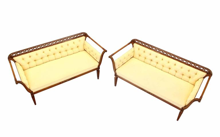 Pair of Regency Style Sofas or Loveseats Gold Upholstery For Sale 1