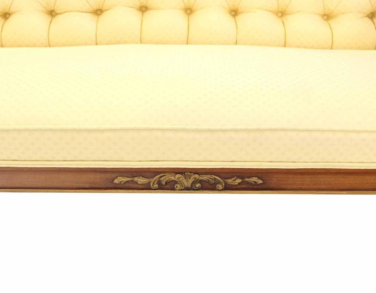 Pair of Regency Style Sofas or Loveseats Gold Upholstery For Sale 2