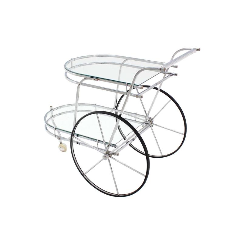 American Large Wheel Design Chrome and Glass Tea Bar Cart For Sale