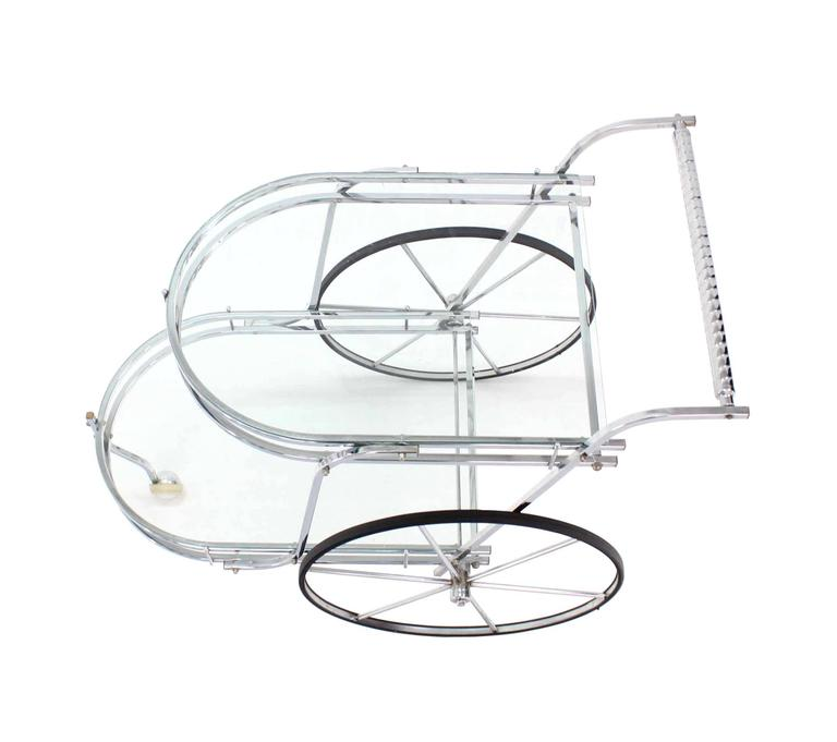 Polished Large Wheel Design Chrome and Glass Tea Bar Cart For Sale