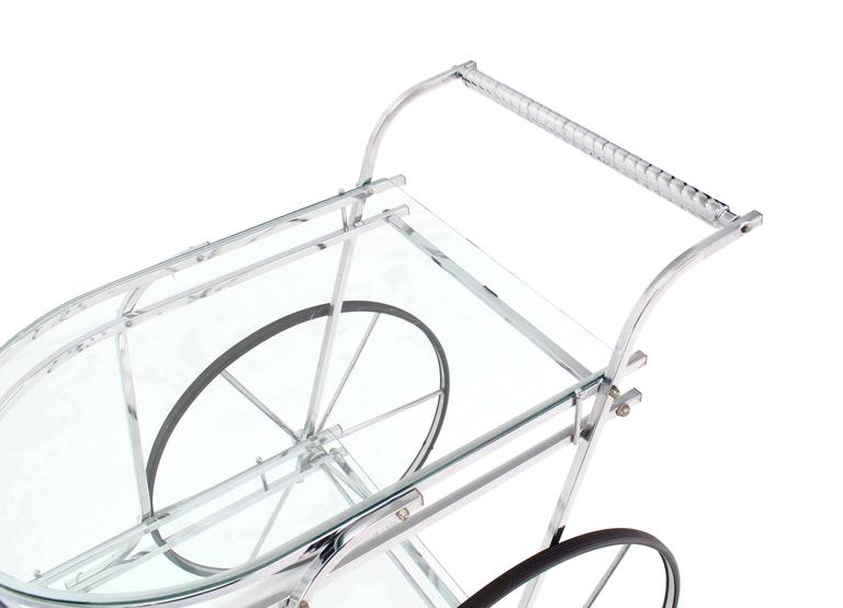20th Century Large Wheel Design Chrome and Glass Tea Bar Cart For Sale