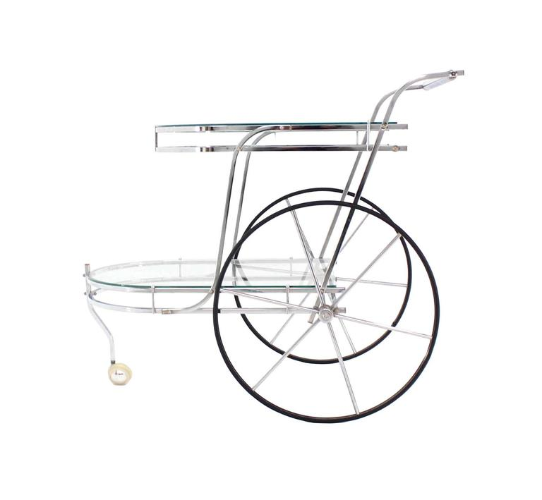 Large Wheel Design Chrome and Glass Tea Bar Cart For Sale 2