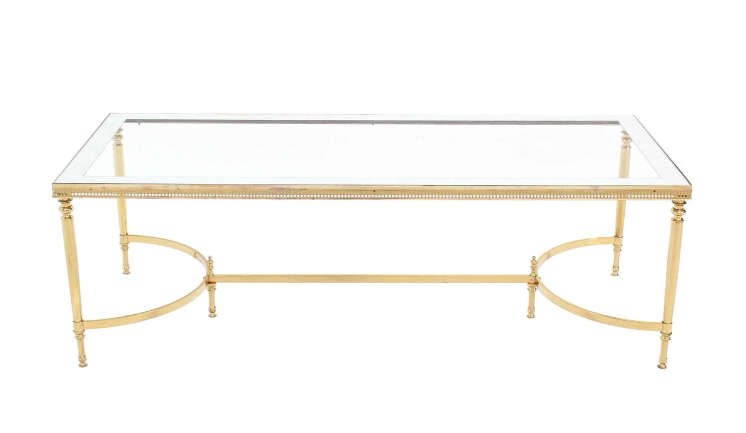 Brass Mirrored Frame Glass Top Coffee Table For Sale At 1stdibs