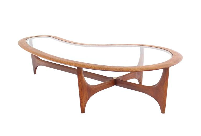 Etonnant Lacquered Large Danish Mid Century Modern Biomorphic Kidney Shape Coffee  Table For Sale