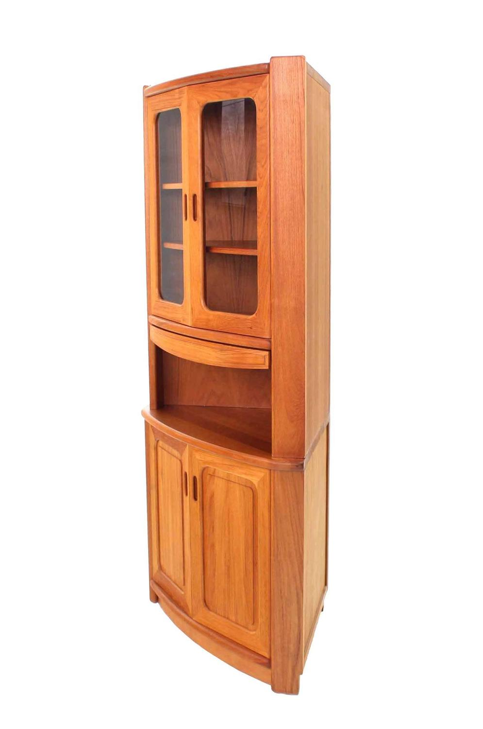 Solid teak danish modern corner cabinet for sale at 1stdibs for Modern teak kitchen cabinets