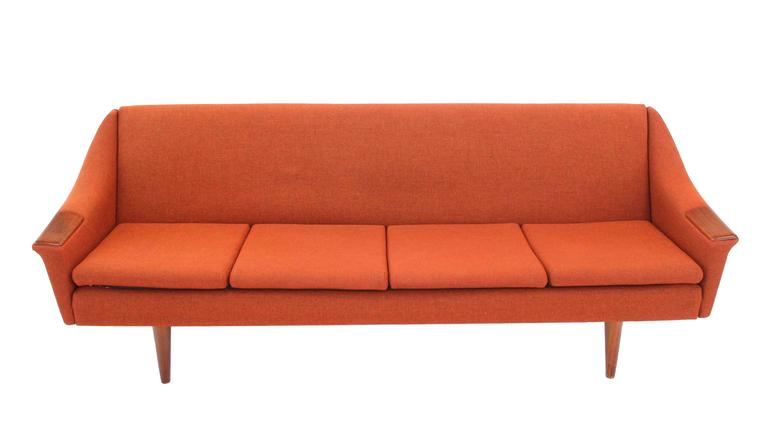 Mid-Century Modern Rare Danish Modern Convertible Brick Wool Upholstery Daybed Sofa For Sale