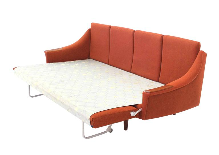 20th Century Rare Danish Modern Convertible Brick Wool Upholstery Daybed Sofa For Sale