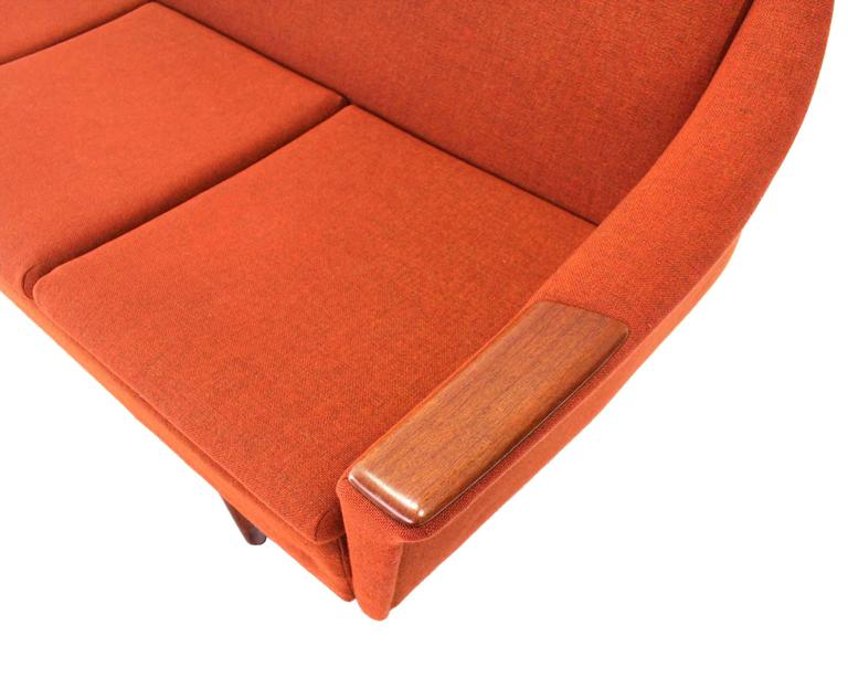 American Rare Danish Modern Convertible Brick Wool Upholstery Daybed Sofa For Sale