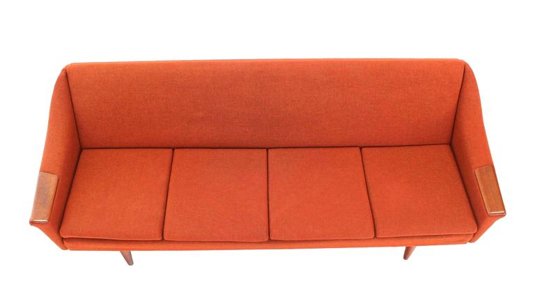 Rare Danish Modern Convertible Brick Wool Upholstery Daybed Sofa For Sale 1