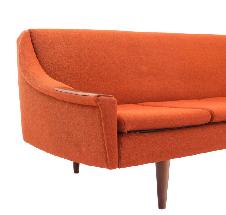 Rare Danish Modern Convertible Brick Wool Upholstery Daybed Sofa For Sale 2