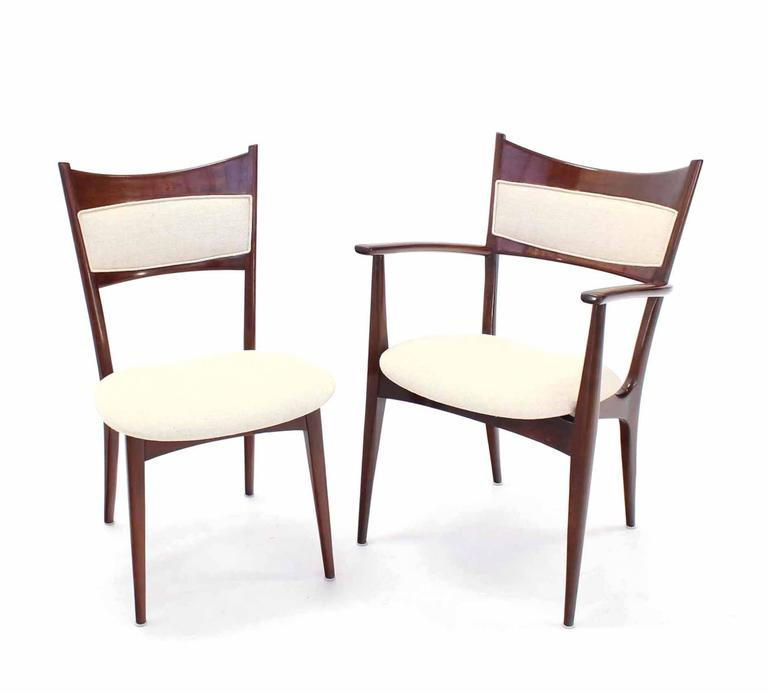 Set of 6 Italian modern chairs with new linen upholstery attributed to Carlo Mollino. 2 arm chairs.