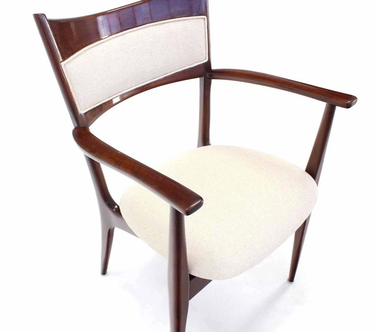Lacquered Set of Six Italian Modern Dining Chairs with New Upholstery For Sale