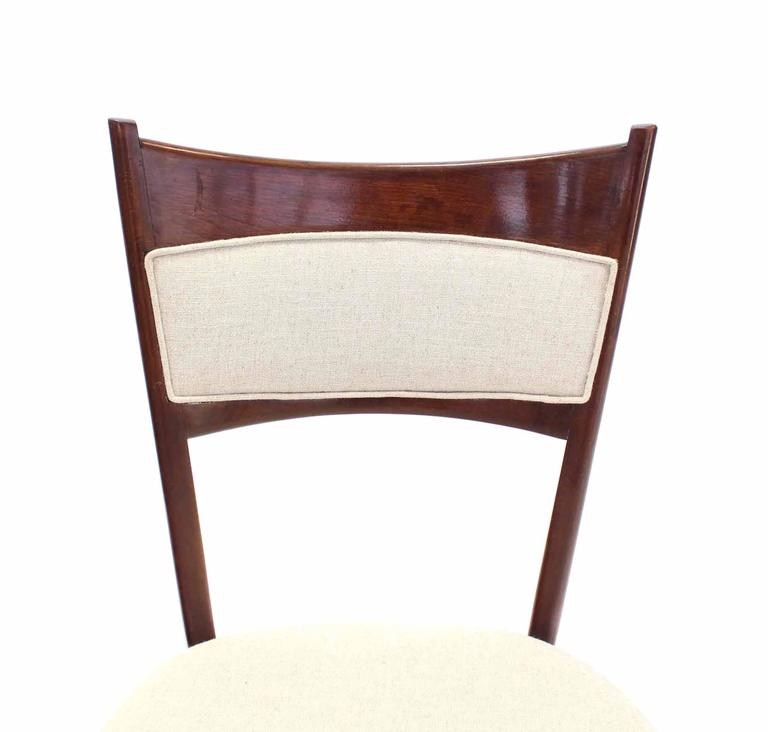 Set of Six Italian Modern Dining Chairs with New Upholstery In Excellent Condition For Sale In Blairstown, NJ