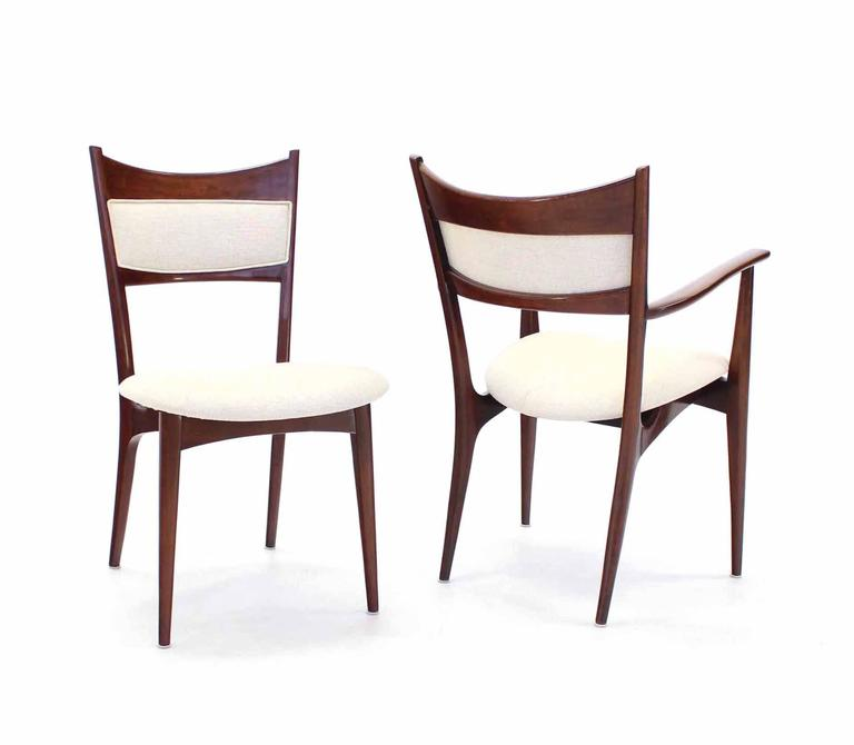 Linen Set of Six Italian Modern Dining Chairs with New Upholstery For Sale