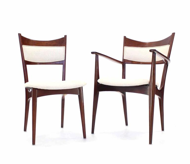 Set of Six Italian Modern Dining Chairs with New Upholstery For Sale 1