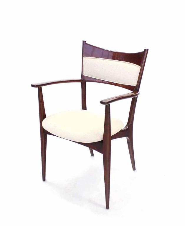 Set of Six Italian Modern Dining Chairs with New Upholstery For Sale 2