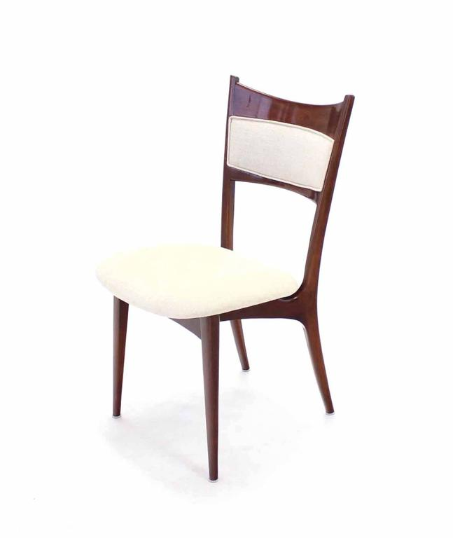 Set of Six Italian Modern Dining Chairs with New Upholstery For Sale 3