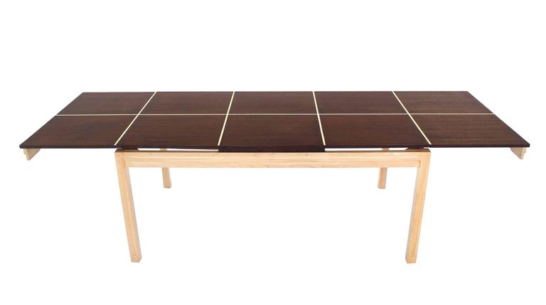 "Very nice Mid-Century Modern rectangle dining table with 2 x 21"" leaves attributed Tommy Parzinger."