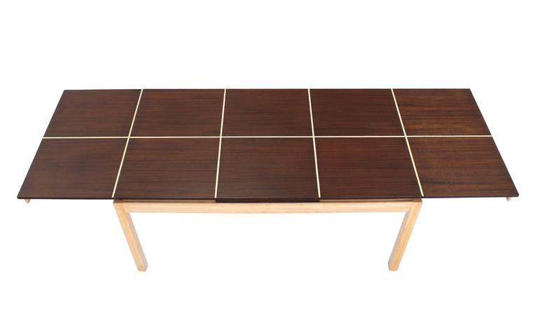 Mid-Century Modern Two tone Dining Table with Two Leaves For Sale